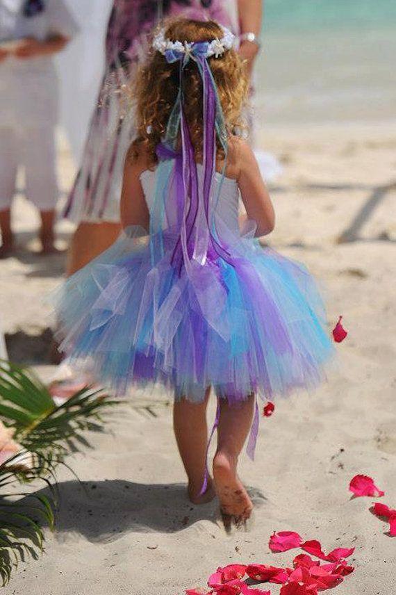 Hybrid Little Ms. Rain Tutu purple turquoise by JeniHarveyDesigns