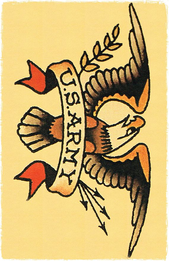 11 x 17 Big US ARMY insignia Eagle Sailor Jerry Style Tattoo Flash Poster Print