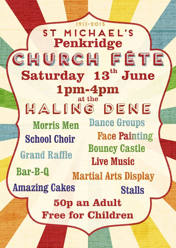 Penkridge church summer fete poster 2015. Using Frontage font by Juri Zaech & Clarendon Font. typography. Summer Fayre poster