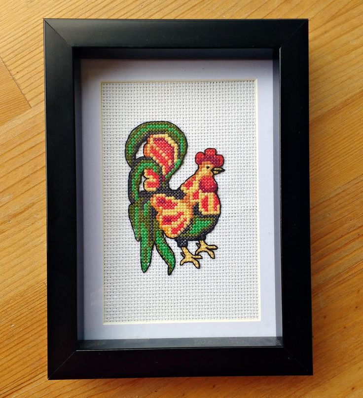 Rooster Finished Cross Stitch 4x6 Frame Rustic Wall Art Cock Bird Animal, Black Green Red Orange Yellow, Gift for Bird Lover, Good Morning by LakeviewNeedlework on Etsy