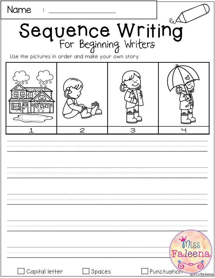 March Sequence Writing For Beginning Writers Kindergarten Math Worksheets Sequence Writing Story Sequencing Worksheets Writing worksheet for first grade