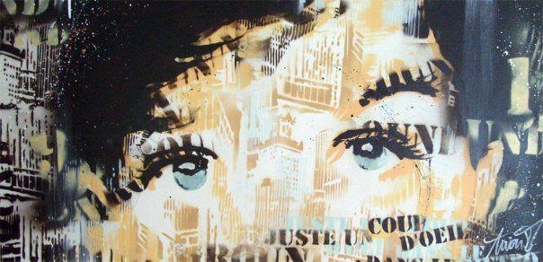 ANTOINE STEVENS 2009 #antoinestevens #streetart #pochoir #stencil #paintings #art #artist #aerosol #spraypaint #canvas #toile #portrait