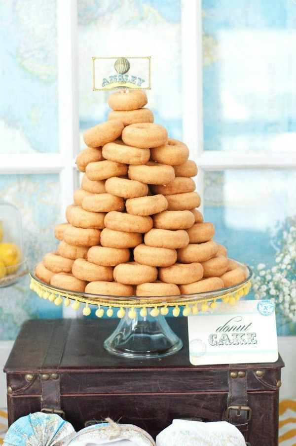 Donut tower/cake? Yes please! Can you imagine this with sprinkles donuts? #Brunch #brunch receptions #wedding brunch