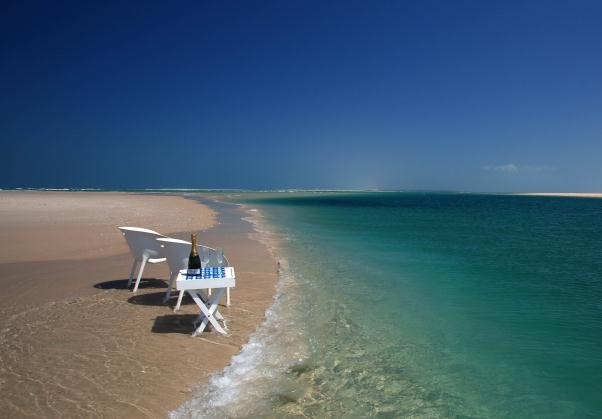 Azura Beach Lodge in Mozambique's Bazaruto Archipelago, takes relaxation to new heights. Crystal clear waters lapping at your feet, with miles of beach and ocean stretching in either direction is prime location for romantic island ambiance.