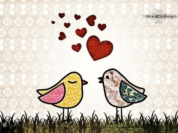 €12.00  Love Birds Nursery Art Children's Fun and by UniqueChildrensArt,