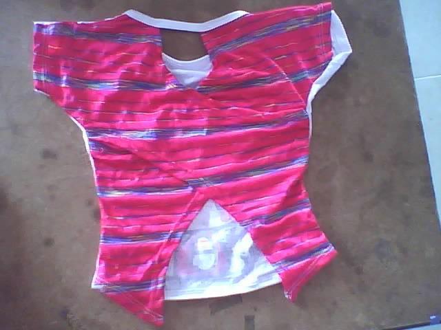ropa para niña,blusa manga enteriza espalda cruzada y en contraste de tejidos