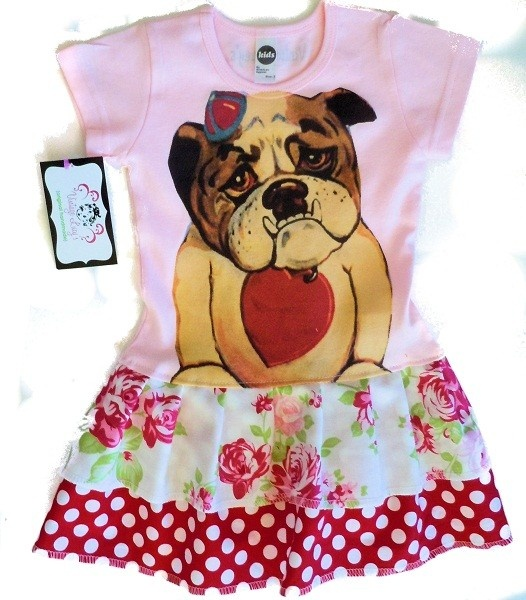 Vintage childrens dress bull dog Size 3 mos up to by VintageLucys, $58.00: Dogs Size, 3 Mo, Dresses Bull, Bulldogs, Vintage Children, Children Dresses, Vintage Wardrobe, Vintage Lucy, Bull Dogs