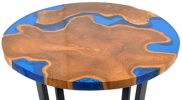 "40"" Round Resin and and Teak Root table is highly polished with gaps infilled with the very best quality resin (blue, clear, aqua, red or green) #teak #coffee #table #modern #vintage #natural #root"