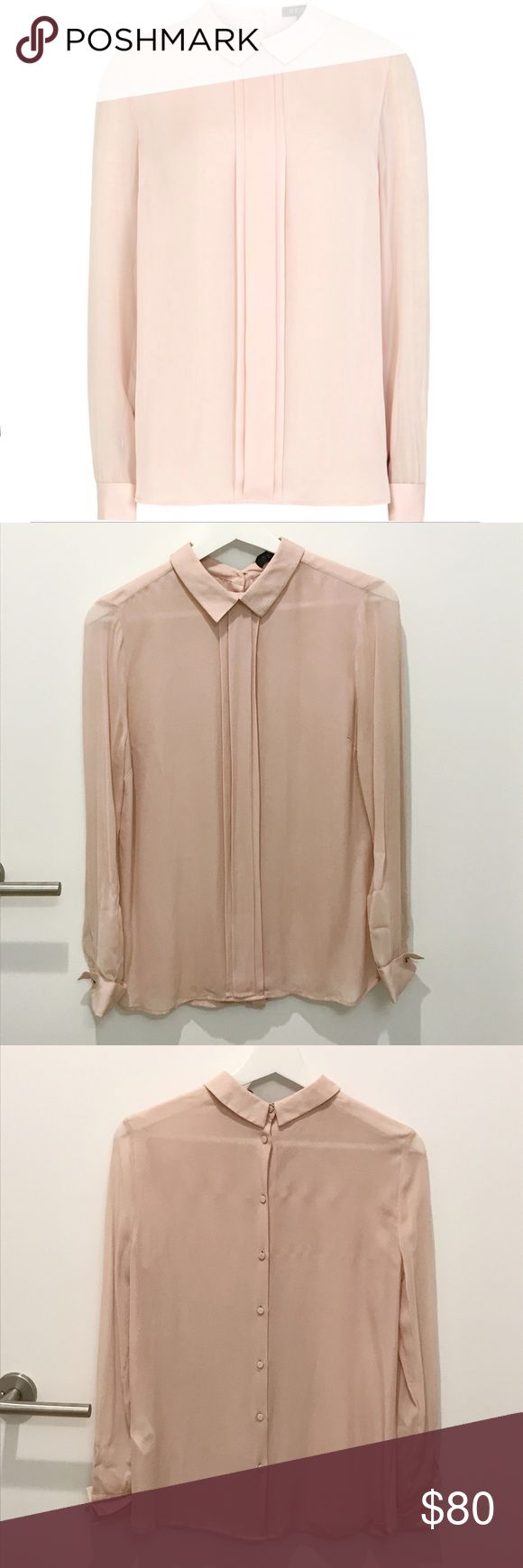 Reiss London Lola Silk Button-back Shirt in Pink 100% Silk. Like new condition. Size: UK6 = EU34 = US2. Reiss Tops Blouses