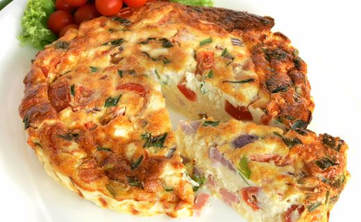 Breakfast: Light Ham and Swiss Frittata (220 calories/serving) serve with fruit