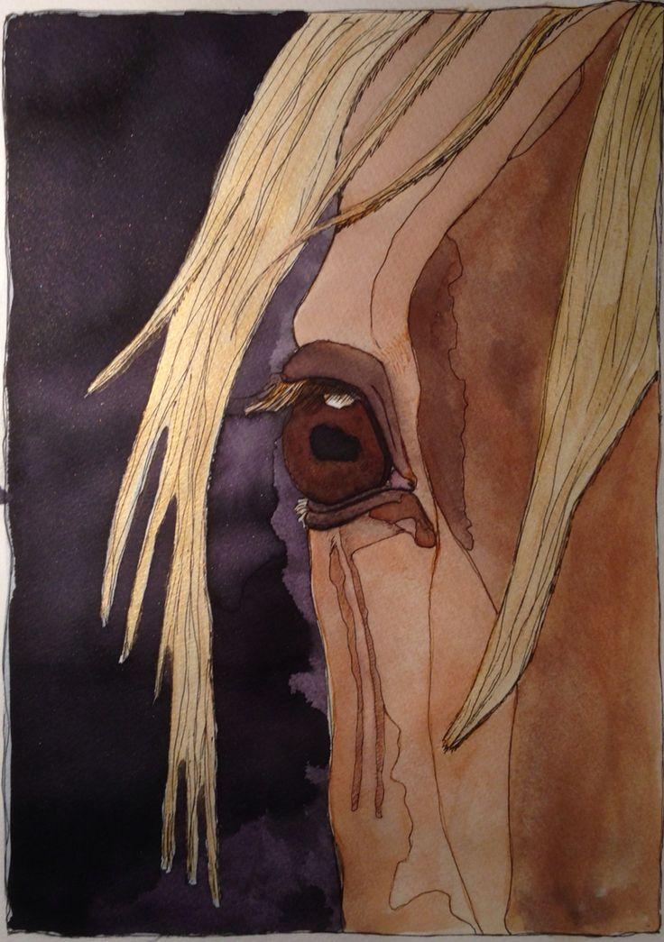 Horse. Mixed media art. A4 By Cia Keramik och Design