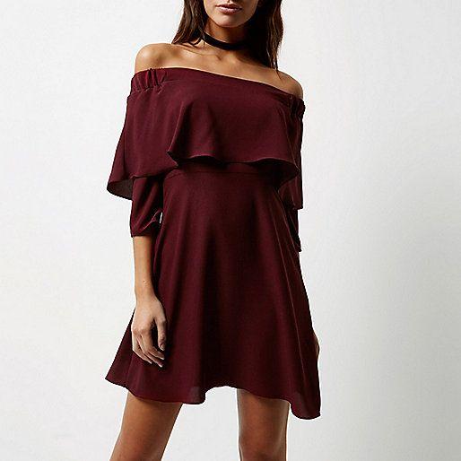 Dark red bardot cape swing dress