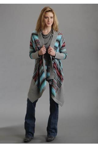 Asymetrical Sweater Cardigan Intarsia Ladies Stetson Collection- Fall Winter Ii Outerwear Urban