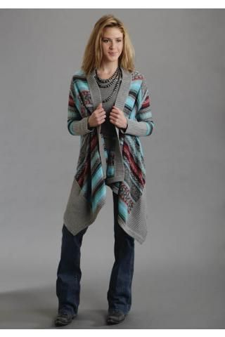 Asymetrical Sweater Cardigan Intarsia Ladies Stetson Collection- Fall Winter Ii Outerwear Urban