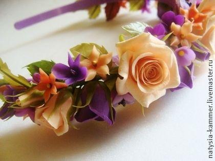 Ободки-веночки - лимонный,желтый,сиреневый,фиолетовый,ободок с цветами