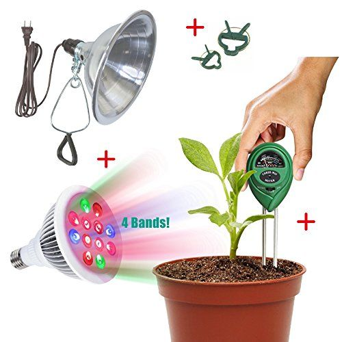 Indoor Garden Kit  LED Grow Light 12W with 4 Bands For Extra Boost Growing  Clamp Reflector  PH  Moisture Meter  Plant Label  Plant Clips >>> You can get additional details at the image link.