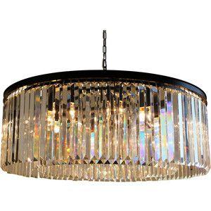 D'Angelo 12-Light Round Fringe Clear Crystal Chandelier