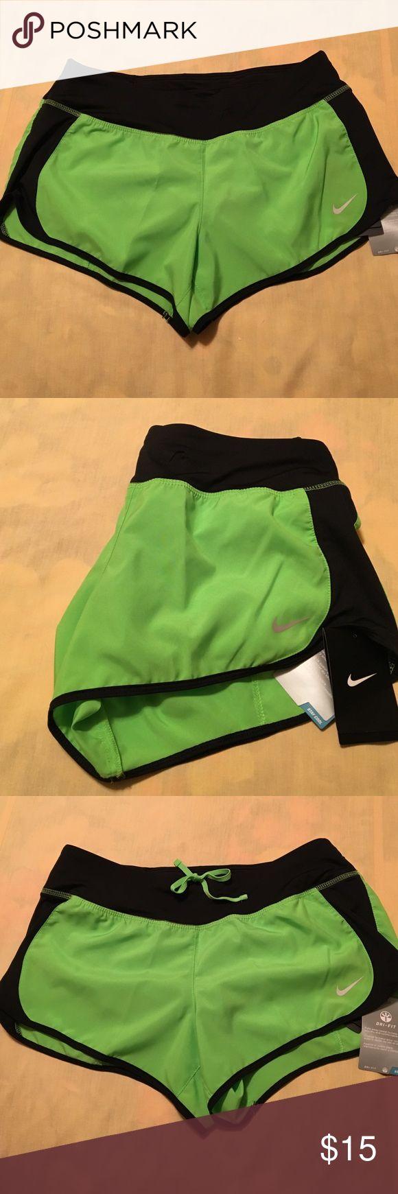NWT NIKE Dri-Fit Stay Cool Shorts NWT NIKE Dri-Fit Stay Cool Shorts w/inside attached panty and drawstring waist.  Lime green and black. Size M Nike Shorts