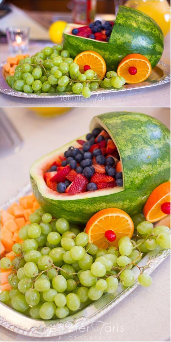 Serving heathy food at a baby shower does not have to be boring! Check out this creative fruit platter design