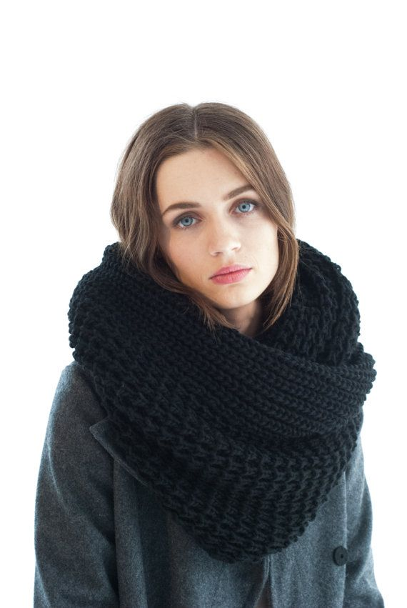 An oversize chunky infinity scarf - a staple accessory you need for any chilly day. So cozy and soft, made of premium Italian wool knit fabric,