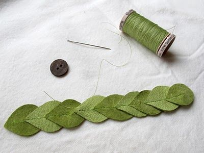 Leaf cuff by Maya*Made, beautiful! Need scrap leather, a leather needle for the machine, and a button.