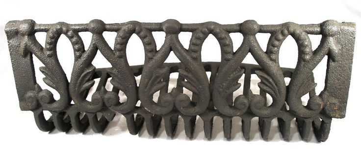 ANTIQUE ART NOUVEAU CAST IRON ARCH BEAD WHALE BONE FIRE PLACE GRATE FOR SURROUND #NOTMARKED 7377