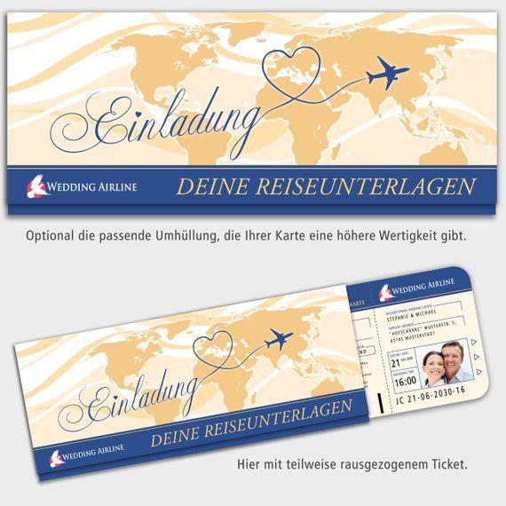 Hochzeitseinladungen Kreuzfahrt Eintrittskarten Tickets Feier Fete Hochzeit