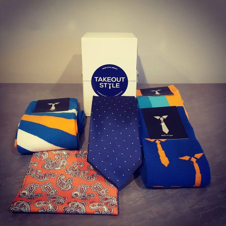 Check out the Blue Style Box! Three pairs of exciting socks, a classic tie and the pocket square to finish the look. Order it today at www.takeoutstyle.com #yourstyleawaits  #whichcolourareyou