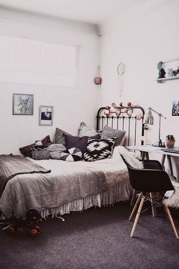 gray bedroom Boho elements deco cushion
