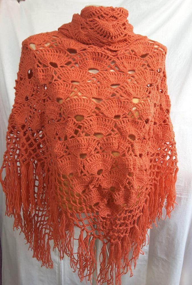 New unique hand knit crochet handmade wool shawl wrap coral #Handmade #ShawlWrap