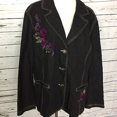 Womens Embroidered Floral Beaded Denim Blazer Jean Jacket D & Co Plus Sz 3X