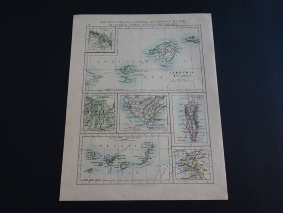 BALEARIC islands map 1895 original antique map by VintageOldMaps