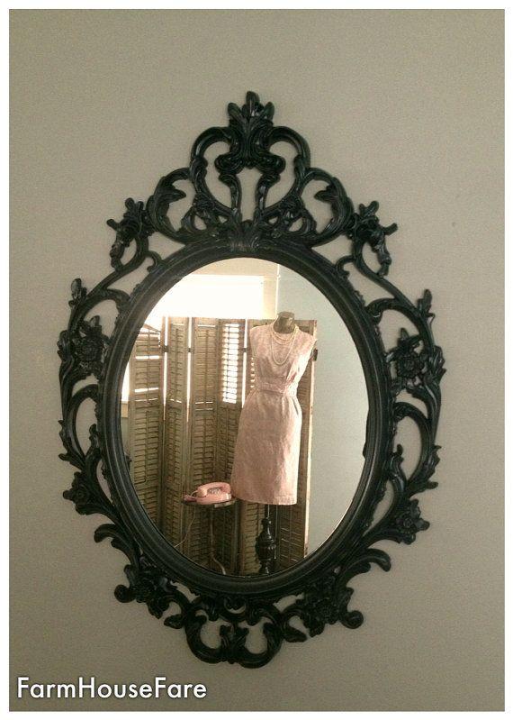 Black mirror baroque ornate shabby chic bathroom vanity for Baroque bathroom mirror