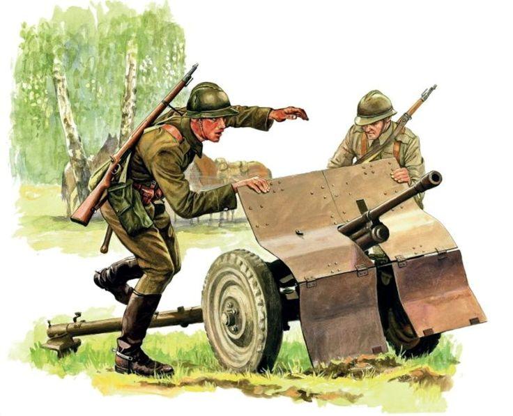 """Ułani z 12. pułku z działkiem ppanc. wz. 36 Bofors kal. 37 mm, w stalowych hełmach typu """"Adrian"""", uzbrojeni w karabinki Mauser M 98 w wersji kawaleryjskiej. Rys. Marek Szyszko."""