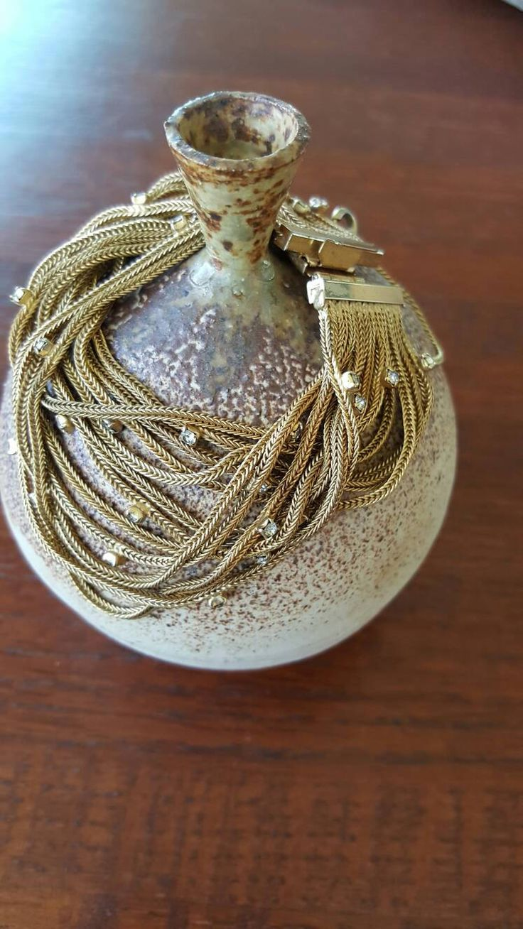 Vintage Goldtone Mesh Chain Bracelet with prong set rhinestones Signed Weiss Lindeburg~Designer signed mesh bracelet by In2vintagejewelry2 on Etsy