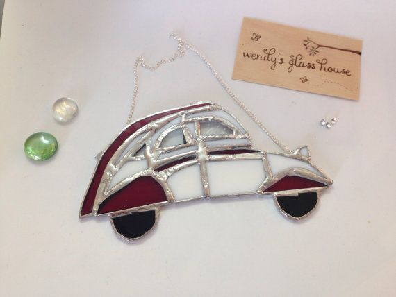 Stained glass suncatcher 2cv dolly car by Wendysglasshouse on Etsy