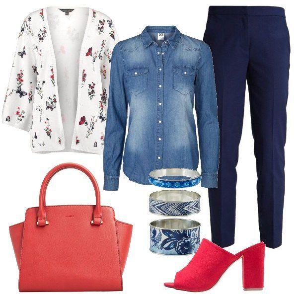 L'outfit+è+composto+da+una+camicia+in+jeans+in+cotone+blu+chiaro+da+portare+sotto+il+cardigan+senza+bottoni+in+fantasia+floreale+ed+i+pantaloni+con+cerniera+nascosta.+Il+look+si+completa+con+un+paio+di+scarpe+rosse+in+similpelle,+una+borsa+a+mano+ed+un+set+di+bracciali+Desigual.