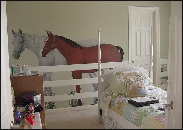 horse theme bedroom decorating ideas-girls horse theme bedrooms