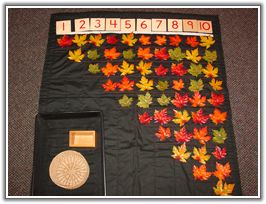 a 1-10 mat for all seasons.  Has subtle stitched squares under each number to indicate how many objects should be placed below the numeral.