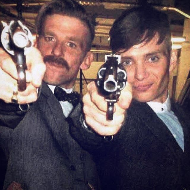 Paul Anderson and Cillian Murphy on the set of Peaky Blinders :)