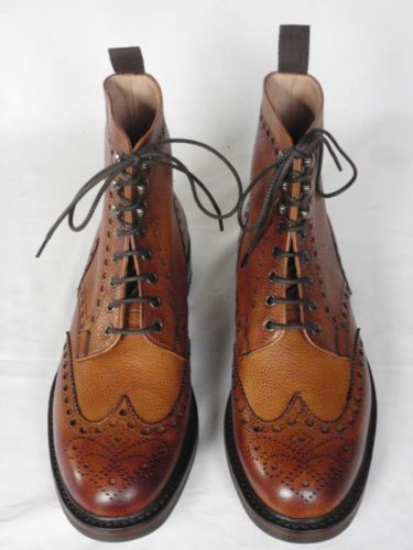 NEW MENS Joseph Cheaney Tweed Almond Brown Leather Lace Up Trail Boots UK  9.5 F  