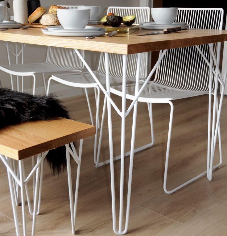 Beautiful Tongariro Oak Table And Wakatipu Bench Seat With Hair Pin Legs Wire Devonport Chairs
