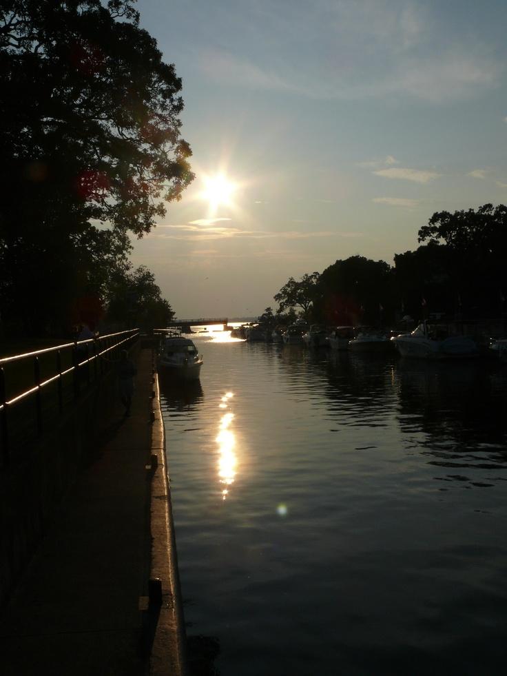 From TSW Lock 34 the sun going down on Cameron Lake. Fenelon Falls, City of Kawartha Lakes, Ontario