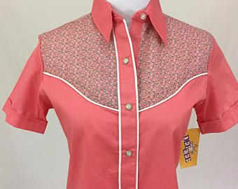 NWT Lady Dee Cee Pearl Snap Western Shirt Womens Size 8 Short Sleeve