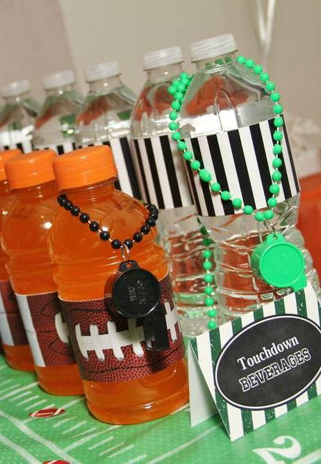 Dressed up drinks at a football birthday party! See more party planning ideas at CatchMyParty.com!