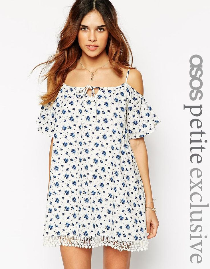 ASOS PETITE Dress with Cold Shoulder and Lace Hem