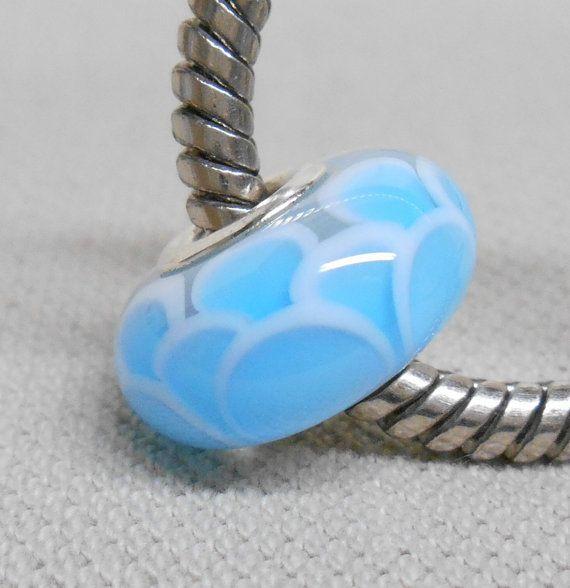 SRA blau skaliert Perlen Handmade Lampwork Bead Europäischen großes Loch Charm Bead