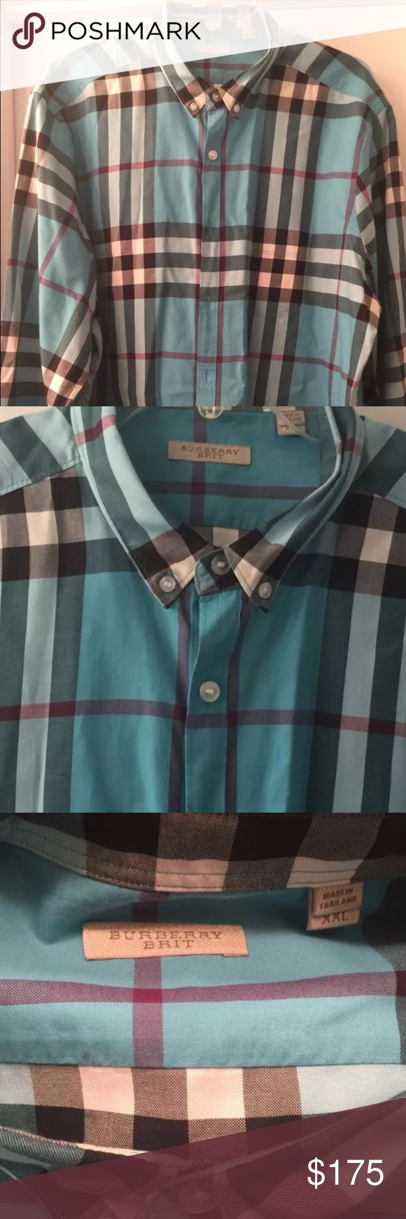 New authentic burberry shirt XXL New without tags never worn authentic burberry shirt for men size xxl long sleeves green color 100% cotton Burberry Shirts Casual Button Down Shirts