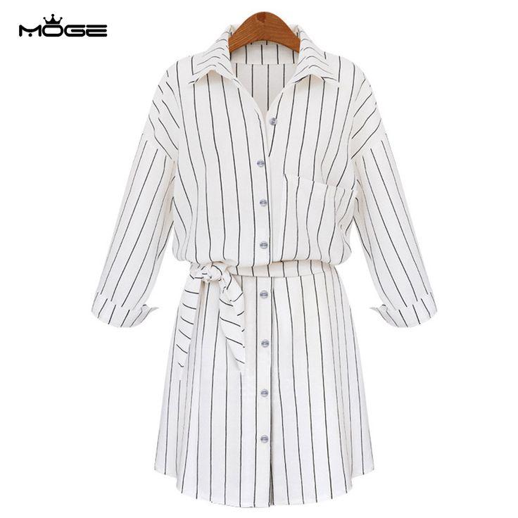 MOGE striped shirt dress fashion cotton women autumn dresses trun-down collar single botton plus size dresses robe femme