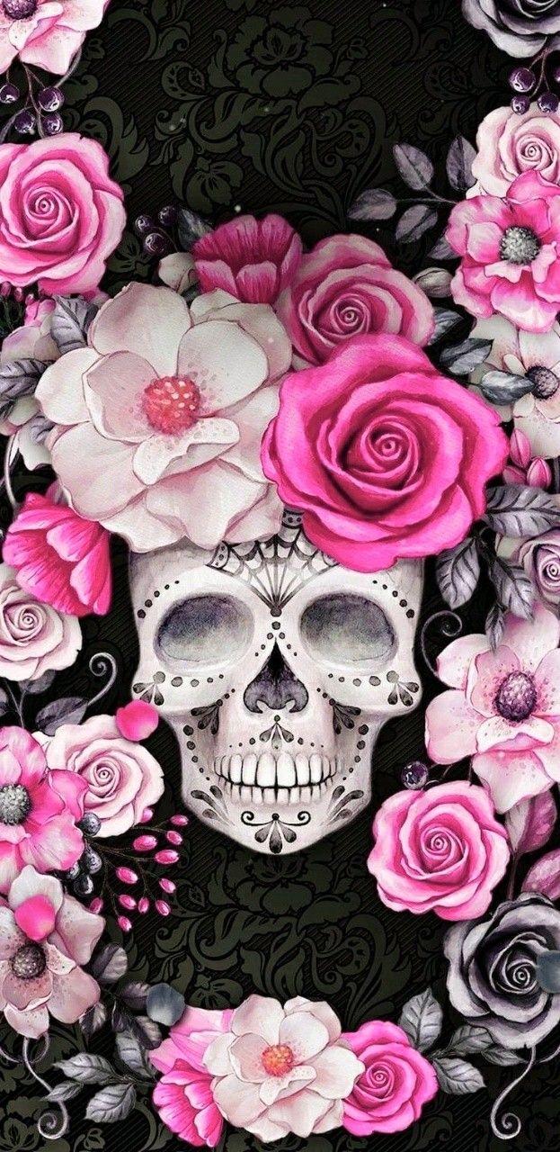 Pin By Gralyne Watkins On Wallpaper Skull Skull Wallpaper Iphone Sugar Skull Wallpaper Skull Artwork